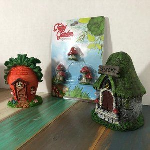 Fairy garden houses and toadstools